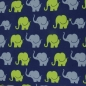 "Mobile Preview: Baumwolljersey""Elephant Parade blau-grün"""