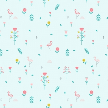 "Poplin ""Savanna Mint Flowers"""